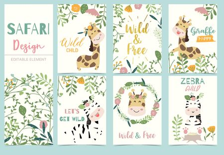 Collection of safari background set with head giraffe,flower,zebra,lion.Editable vector illustration for birthday invitation,postcard and sticker.Wording include wild and free