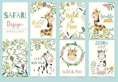 Sammlung von Safari-Hintergrund mit Kopfgiraffe, Blume, Zebra, Löwe. Bearbeitbare Vektorgrafik für Geburtstagseinladung, Postkarte und Aufkleber Vektorgrafik