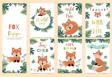Collection of safari background set with head fox,fox,ribbon.Editable vector illustration for birthday invitation,postcard and sticker.Wording include wild and free Archivio Fotografico - 128692645