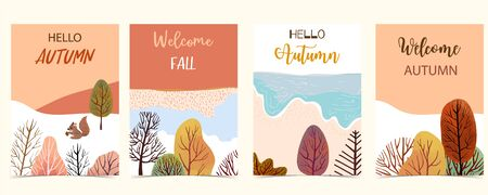 Collection of autumn background set with leaves,tree,squirrel,frame.Editable vector illustration for birthday invitation,postcard and website banner Ilustração