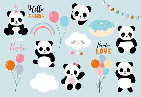 Pastel panda set with pandacorn,rainbow,balloon,heart illustration for sticker,postcard,birthday invitation 일러스트