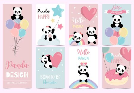 Collection of birthday background set with panda,rainbow,balloon.Editable vector illustration for birthday invitation,postcard and sticker.Wording include hello