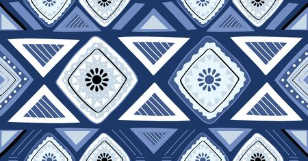 Blue geometric seamless pattern in African style with square,tribal,circle shape 일러스트