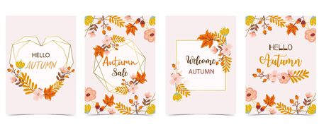 Collection of autumn background set with gold geometric,leaves,flower,wreath,heart.Vector illustration for invitation,postcard and sticker.Editable element
