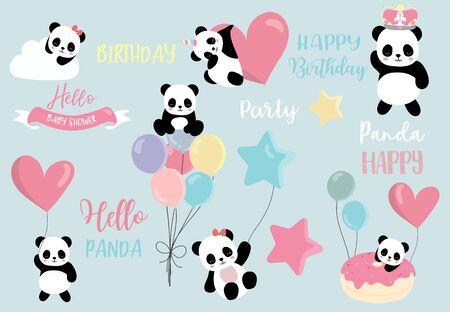 Pastel panda set with pandacorn,rainbow,balloon,heart illustration for sticker,postcard,birthday invitation Archivio Fotografico - 128692691
