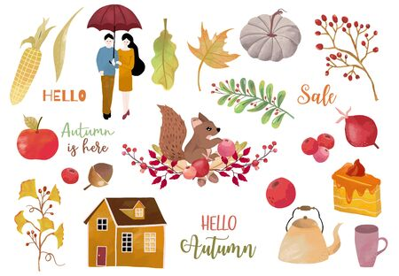 Autumn object collection with apple,squirrel,acorn,leaves.Illustration for sticker,postcard,invitation,element website.Included hello autumn and autumn is here wording