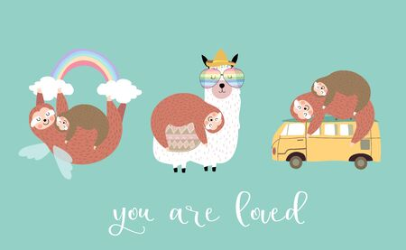 Lazy sloth object set with van,llama,rainbow,sleep,hanging. illustration for sticker,postcard,birthday invitation.Include You are loved.Editable element 일러스트