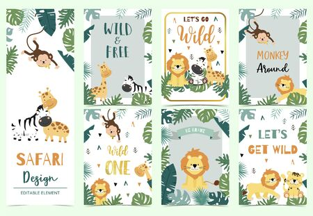 Green,gold collection of safari background set with lion,monkey,giraffe,zebra,geometric vector illustration for birthday invitation,postcard,  and sticker.Wording include wild one,wild and free Foto de archivo - 128692714