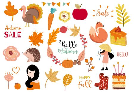 Autumn object collection with pumpkin,fox,turkey,acorn,leaves.Illustration for sticker,postcard,invitation,element website.Included autumn sale and happy fall wording 일러스트