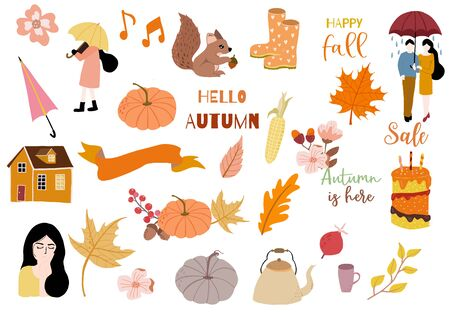 Autumn object collection with pumpkin,squirrel,man,woman.Illustration for sticker,postcard,invitation,element website.Included hello autumn and happy fall wording