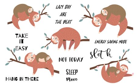Lazy sloth object set with branch,sleep,hanging. illustration for sticker,postcard,birthday invitation.Include Not today,lets hang out wording.Editable element 일러스트