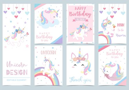 Collection of kid invitation set with unicorn,rainbow, feather,star,heart.Vector illustration for baby shower,birthday invitation,postcard and sticker.Editable element