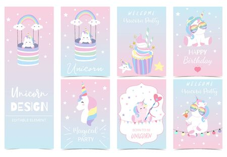 Collection of kid invitation set with unicorn,rainbow,cake,cloud,star,heart.Vector illustration for baby shower,birthday invitation,postcard and sticker.Editable element