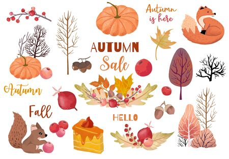 Autumn object collection with dry tree,squirrel,acorn,leaves.Illustration for sticker,postcard,invitation,element website.Included hello fall and autumn sale wording