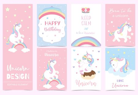 Collection of kid invitation set with unicorn,rainbow, donut,star,heart.Vector illustration for baby shower,birthday invitation,postcard and sticker.Editable element