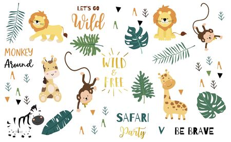 Safari object set with monkey,giraffe,zebra,lion,leaves. illustration for sticker,postcard,birthday invitation.Editable element Foto de archivo - 128693219
