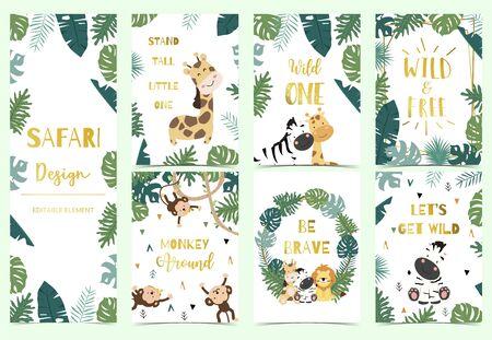 Grüne, goldene Sammlung von Safari-Hintergrund mit Löwen, Affen, Giraffen, Zebras, geometrischen Vektorillustrationen für Geburtstagseinladung, Postkarte, Aufkleber Vektorgrafik