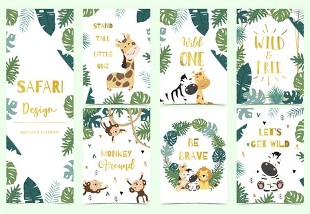 Green,gold collection of safari background set with lion,monkey,giraffe,zebra,geometric vector illustration for birthday invitation,postcard,sticker.Wording include wild one,wild and free Иллюстрация