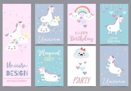 Colección, de, niño, invitación, conjunto, con, unicornio, arco iris, nube, estrella, heart., Vector, ilustración, para, baby shower, invitación de cumpleaños, postal, y, sticker., Elemento editable