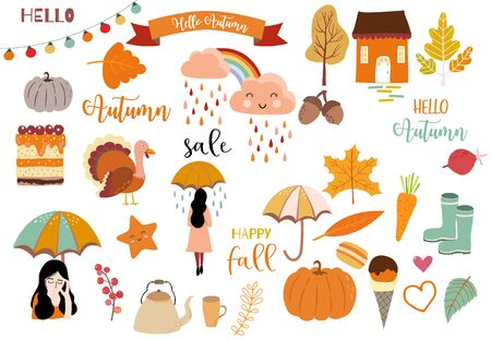 Autumn object collection with pumpkin,cloud,rainbow,woman.Illustration for sticker,postcard,invitation,element website.Included hello autumn and happy fall wording 일러스트
