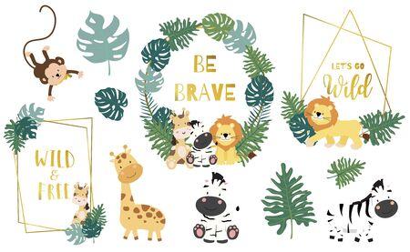 Safari object set with monkey,giraffe,zebra,lion,leaves. illustration for sticker,postcard,birthday invitation.Editable element 일러스트