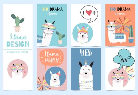 Collection of kid invitation set with llama no drama,llama party,yes and love.Vector illustration for baby shower,birthday invitation,postcard and sticker.Editable element 일러스트