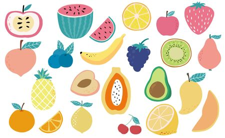 Cute fresh fruit object collection with watermelon, lemon, pineapple, apple,berry,avocado.Vector illustration for icon,sticker,printable