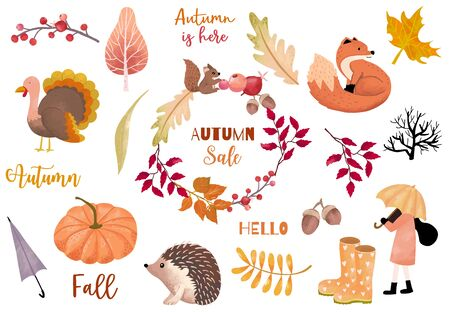 Autumn object collection with pumpkin,fox,turkey,acorn,leaves.Illustration for sticker,postcard,invitation,element website.Included hello fall and autumn is here wording