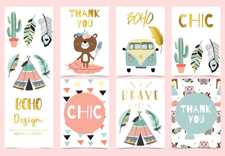 Collection of kid invitation set with feather,cactus,van,bear,tent,arrow.Vector illustration for baby shower,birthday invitation,postcard and sticker.Editable element