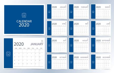 Business calendar 2020.Dark blue monthly calendar can be used for printable graphic and website 일러스트