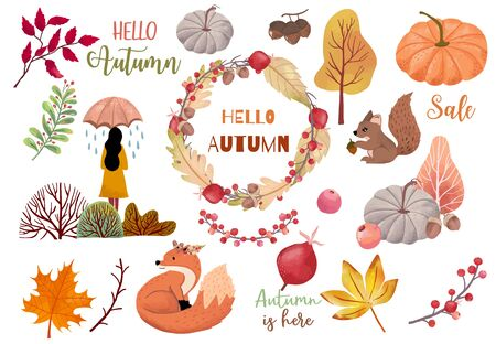 Autumn object collection with dry tree,squirrel,acorn,leaves,woman.Illustration for sticker,postcard,invitation,element website.Included hello fall and autumn sale wording Ilustração