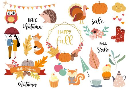 Autumn object collection with pumpkin,owl,wreath,man,woman,couple.Illustration for sticker,postcard,invitation,element website.Included hello autumn and fall sale wording