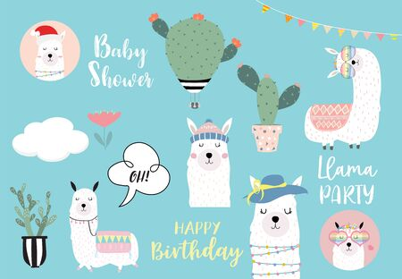 Cute llama invitation for kid 일러스트