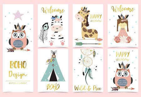 Collection of kid invitation set with feather,owl,tent,giraffe,zebra,dreamcatcher.Vector illustration for baby shower,birthday invitation,postcard and sticker.Editable element Foto de archivo - 128693376
