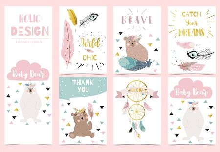 Collection of gold boho cards set with feather,dreamcatcher,bear.Vector illustration for birthday invitation,postcard and sticker.Editable element