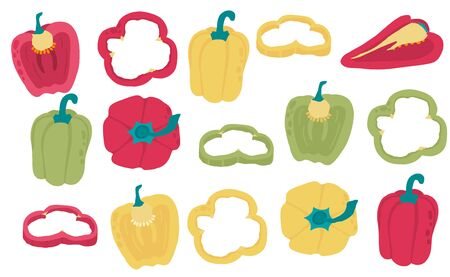 Cute bell pepper object collection.Whole, cut in half, sliced on pieces bell pepper. Vector illustration for icon, sticker,printable Illustration