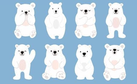 Simple white bear character.Use for invitation,printable,sticker.Vector illustration character doodle cartoon