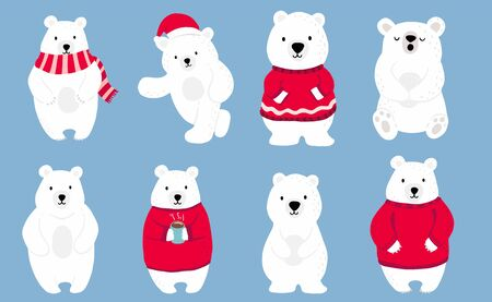 Simple white bear character wear red sweater.Use for Christmas invitation,printable,sticker.Vector illustration character doodle cartoon 일러스트