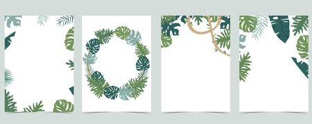 Collection of leaf background set