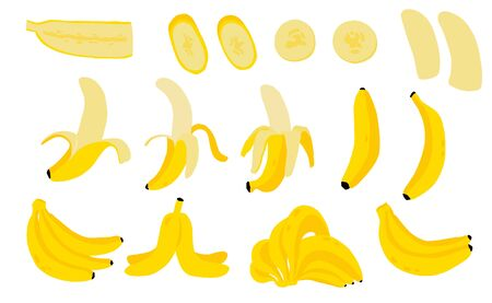 Cute banana fruit object collection. Whole, cut in half, sliced on pieces banana. Vector illustration Çizim