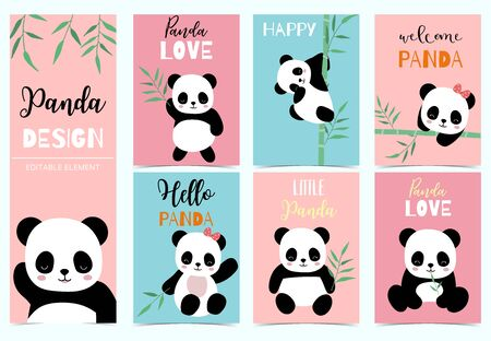 Collection of birthday background set with panda, bamboo. Editable vector illustration