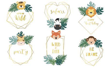 Safari object, Animal vector illustration set Çizim