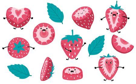 Cute strawberry cartoon collection. Vector illustration