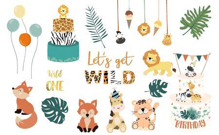 Safari object set with fox, giraffe, zebra, lion, leaves. illustration