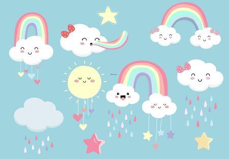 Pastel rainbow set with cloud, sun, star, heart illustration Çizim