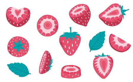 Cute strawberry fruit object collection. Whole, cut in half, sliced on pieces strawberry. Vector illustration Çizim