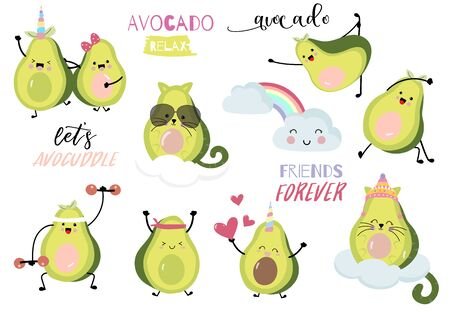 Collection of green avocado card set with leaf, avocado exercise.