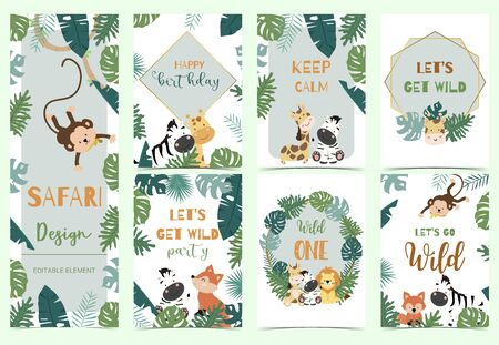 Green, gold animal collection of safari background set