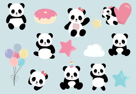 Pastel animal set with panda, Animal vector illustration set Çizim