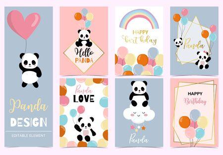 Collection of birthday background set with panda, rainbow, balloon. Editable vector illustration